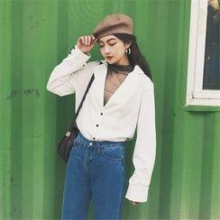 HL哈嘍妹妹 - 套裝: V領長袖襯衫 + 網紗上衣