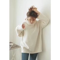 REDOPIN - Turtle-Neck Zip-Detail Knit Top