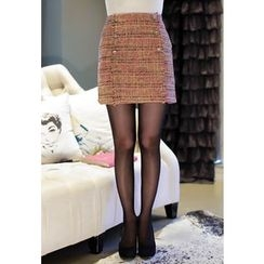 MyFiona - Metallic-Button Tweed Mini Skirt
