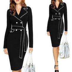 Forest Of Darama - Piped Long-Sleeve Sheath Dress