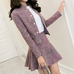 Romantica - Set: Melange Bowed Jacket + A-Line Skirt