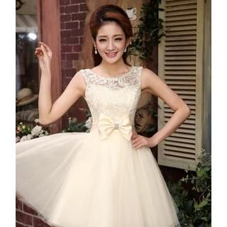 Bridal Elegance - Sleeveless Bow Accent Lace Mini Prom Dress
