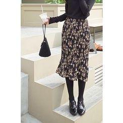 CHERRYKOKO - Accordion-Pleat Floral Pattern Midi Skirt