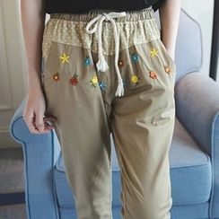 Wimi girls - Embroidered Drawstring Pants