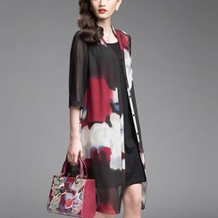 la nuit - Set: Printed 3/4-Sleeve Chiffon Light Jacket + Strap Dress