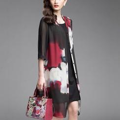 la nuit - 套装: 印花七分袖雪纺薄款夹克 + 吊带连衣裙