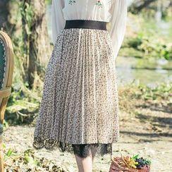 Sens Collection - Lace Hem Floral Print Midi Skirt