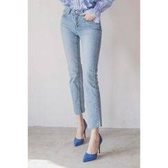 migunstyle - Washed Straight-Cut Jeans