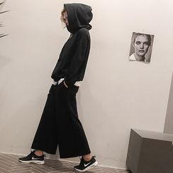 NANING9 - Set: Cotton Drawstring Hooded Pullover + Pants