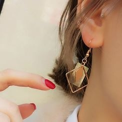Jael - Scallop Square Non-matching Earrings / Ear Cuffs
