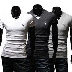 Fireon - Embroidered V-Neck Short-Sleeve T-Shirt
