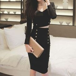Fashion Street - Set: Long-Sleeve Crop Top + Double-Breasted Midi Skirt