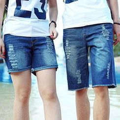 Lovebirds - Distressed Denim Couple Shorts