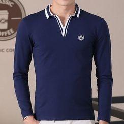 Fesso - Striped Trim Polo Shirt