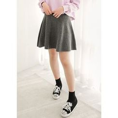 J-ANN - Wool Blend Knit Mini Flare Skirt