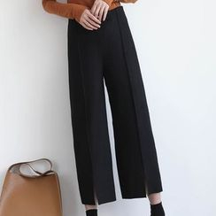 ELLY - Slit Wide Leg Cropped Pants