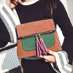 Youshine - Tassel Color Block Crossbody Bag