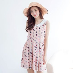 Tokyo Fashion - Sleeveless Contrast-Neck Printed Dress