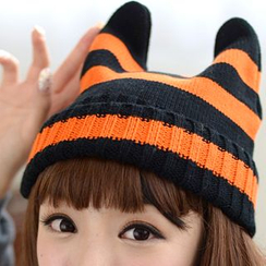 59 Seconds - Ear-Accent Striped Beanie