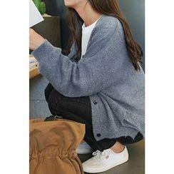 CHERRYKOKO - V-Neck Buttoned Furry-Knit Cardigan
