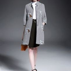 Alaroo - Floral embroidered Wool Blend Coat