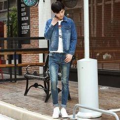 Denimic - Set: Distressed Washed Denim Jacket + Washed Slim Fit Jeans