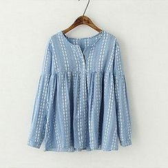 ninna nanna - Patterned Pleated Top