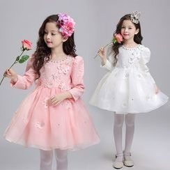 Little Princess - Floral Long Sleeve Mini Prom Dress