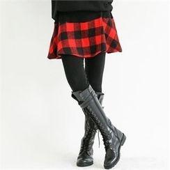 GLAM12 - Inset Check Skirt Leggings