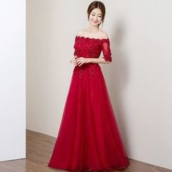 Royal Style - Elbow-Sleeve Off Shoulder Evening Gown