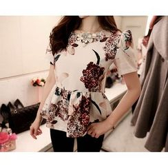 Marlangrouge - Short-Sleeve Floral Peplum Blouse