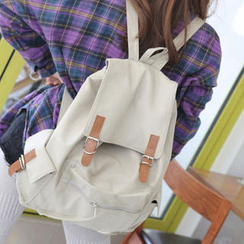 Pandabada - Contrast Buckled Canvas Backpack