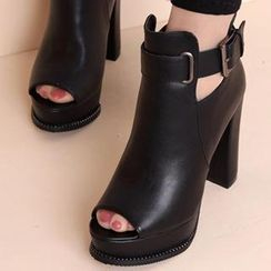 Forkix Boots - Belted Open-Toe Platform Heeled Short Boots