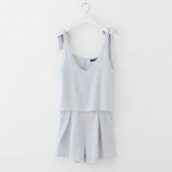 Meimei - Plain Pleated Chiffon Strap Playsuit