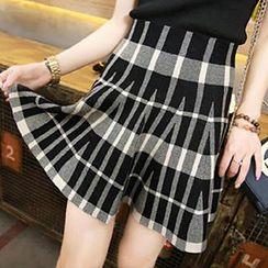 Coralie - Plaid Pleated Knit Skirt