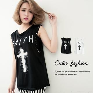 CUTIE FASHION - Cross-Print Tank Top