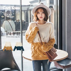 PUFII - Two-Tone Cable Knit Sweater