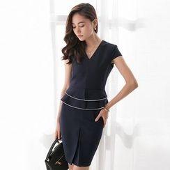 Eleganza - Contrast Trim Short Sleeve Peplum Dress