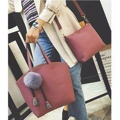 Aishang - 套裝: 斜挎包 + 手提袋連毛毛球飾物