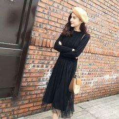 Kofushi - Mock Two-piece Long-Sleeve Knit Dress