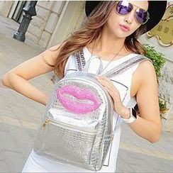 Crystal - Rhinestone Lips Faux Leather Backpack