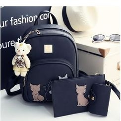 Merlain - Set: Cat Applique Backpack + Zip Pouch + Card Holder