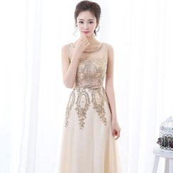 Gracia - Embellished Sleeveless A-line Evening Gown