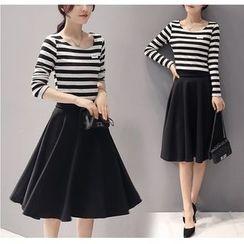 Fumoya - Set: Stripe Long-Sleeve Top + Pleated Skirt