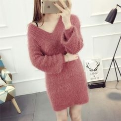 Emeline - V-Neck Thick Knit Dress