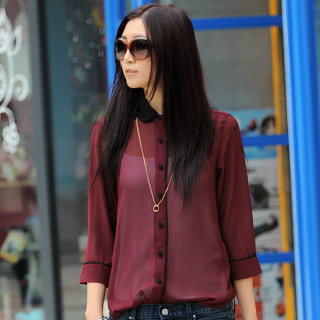 59 Seconds - Contrast-Collar Chiffon Shirt