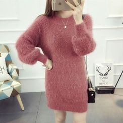 Emeline - Puff-Sleeve Thick Long Sweater