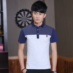 Walwa - Short-Sleeve Color Block Polo Shirt