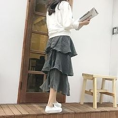 MARSHMALLOW - Zip-Side Tiered Skirt