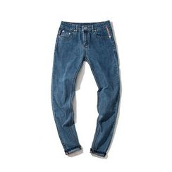 Mitouomo - Fleece Lined Washed Jeans
